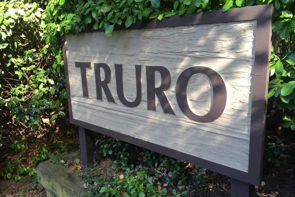 Sign for mid-century modern neighborhood Truro