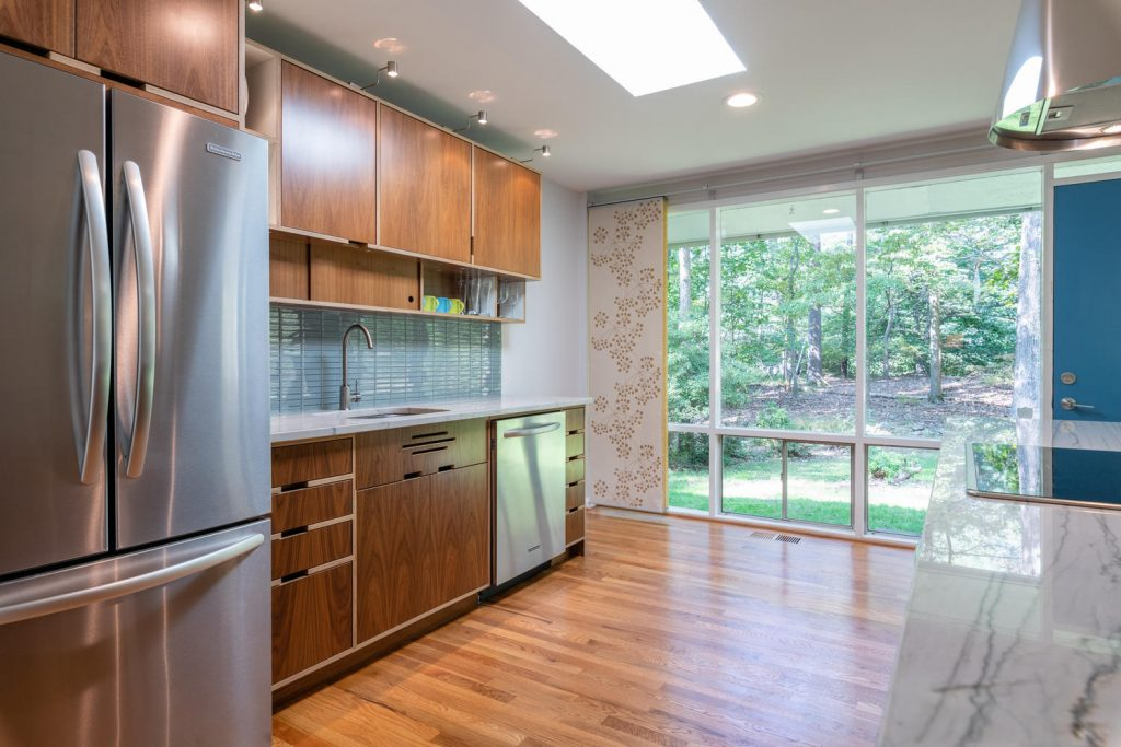 Updated Kerf kitchen in a Charles Goodman-designed mid-century modern home in Potomac, Maryland.