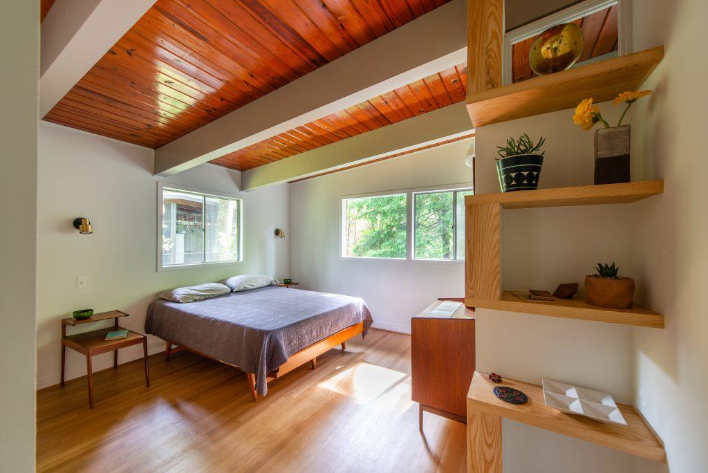 Master bedroom in Falls Church mid-century modern home.