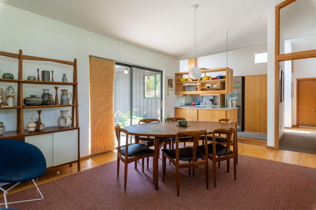 Dining room in Charles Wagner-designed mid-century modern in Moyaone Reserve.